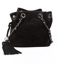 Chanel Vintage Brown Suede Cc Bucket Bag Brown/logo Sz: M