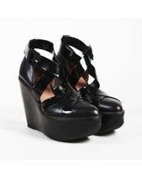 """Robert Clergerie - Black Leather & Patent """"olympy"""" Platform Wedges - Lyst"""