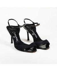 Chanel - Patent Leather Chainlink Sandals - Lyst