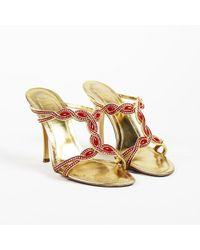 Rene Caovilla - Embellished Leather Mule Sandals - Lyst