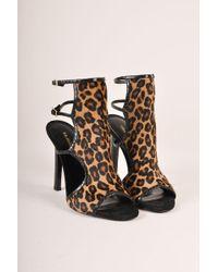Tamara Mellon - Nib Troublemaker Leopard Pony Hair Sandal Heels - Lyst