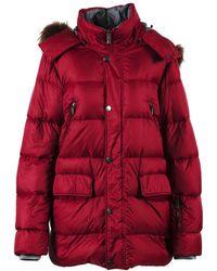 Canali - Red Nylon Down Raccoon Fur Hooded Puffer Coat - Lyst