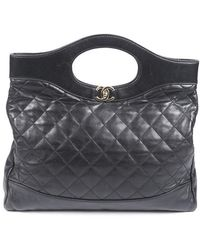 Chanel Large 31 Shopping Tote Black/logo Sz: M
