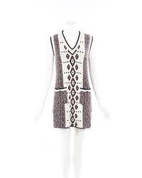 Chanel Intarsia Knit Sweater Dress Blue/cream/geometric Sz: S