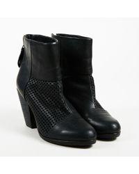 Rag & Bone - Black Leather Laser Cut Ankle Boots - Lyst