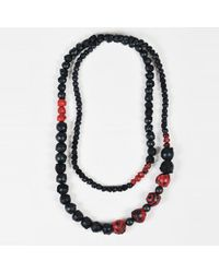 Urban Zen - Nwt Black & Red Leather Beaded Long Necklace - Lyst