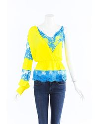 MSGM Silk Lace One Shoulder Top Blue/yellow Sz: Xs