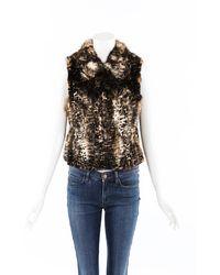 Adrienne Landau Fox Fur Vest Brown/animal Print Sz: Custom - Multicolour