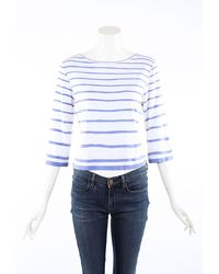Hermès Blue White Striped Boat Neck Top
