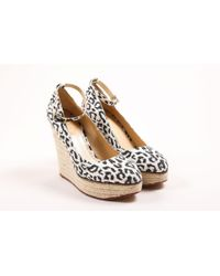 Charlotte Olympia White Black Leopard Print Espadrille Wedge Pumps