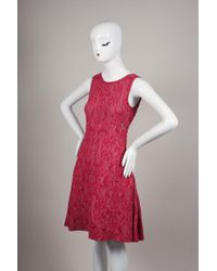 add4e1ce98a Chanel - Red Pink Sleeveless Jacquard Knit Pleated Sweater Dress - Lyst