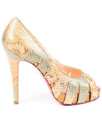 Christian Louboutin Fontanete Snakeskin Court Shoes Gold/multicolor Sz: 5 - Metallic