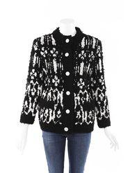 Chanel 2019 Wool Cashmere Chunky Knit Cardigan Black/white Sz: M