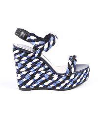 Dior Blue Woven Braided Platform Wedge Sandals Blue Sz: 9