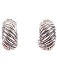 David Yurman Cable Sterling Silver Huggie Earrings Silver Sz: - Metallic