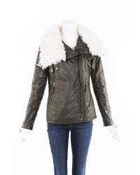 Sam. Shearling Coated Cotton Moto Jacket - Green