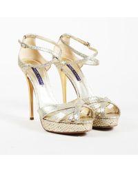 Ralph Lauren Collection - Iridescent Multicolor Snakeskin Peep Toe Sandals - Lyst