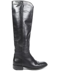Chanel Leather Cc Riding Boots Black Sz: 8.5