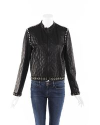 Lanvin Quilted Leather Crystal Jacket Black Sz: M
