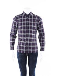 Burberry Alexander Checked Cotton Shirt Men's Blue/white Sz: S