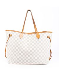 Louis Vuitton Neverfull Gm Damier Azur Tote Bag - White