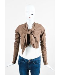 "Rick Owens - ""bronze"" Brown Cotton Draped Cropped Tie Ls Jacket - Lyst"