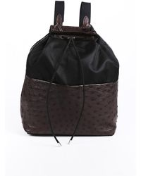 The Row Ostrich Skin Nylon Backpack Black/brown Sz: M
