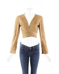 Chanel Vintage Lambskin Suede Cropped Jacket - Natural