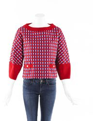 Chanel Boxy Knit Pearl Jumper - Red