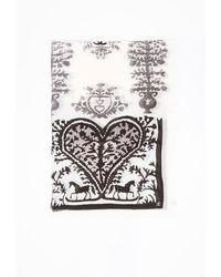 Chanel Cc Cashmere Printed Shawl Gray/multicolor Sz: - Grey