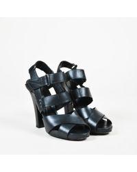 Bottega Veneta Black Leather Cross Strap Platform Sandals