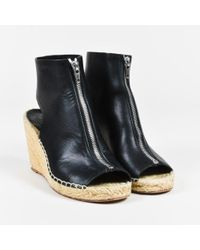 Céline - Black Leather Espadrille Wedge Platform Sandals - Lyst