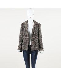 Chanel Metallic Tweed Open Front Jacket - Brown