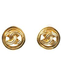 Chanel Cc Clip On Earrings Gold Sz: - Metallic