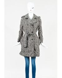 Louis Vuitton White Brown & Black Animal Print Belted Trench Coat