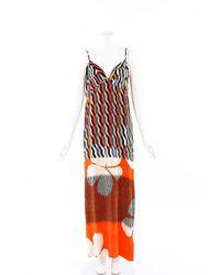 Dries Van Noten Printed Velvet Maxi Dress Orange/multicolor Sz: S - Red