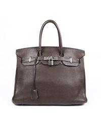 Hermès Birkin 35 Mocha Clemence Leather Bag - Brown