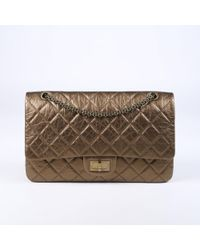 01c835108676 Chanel - Quilted Jumbo 2.55 Reissue Flap Bag - Lyst · Chanel - Metallic  Green Perforated Leather ...