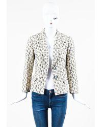 Etro - Cream Black Crinkle Embroidered Floral Print Blazer Jacket - Lyst