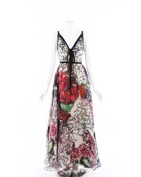 Elie Saab Floral Print Silk Gown Multicolor/floral Print Sz: S - Red