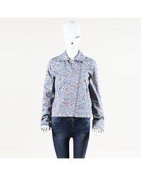 Erdem Floral Print Cotton Moto Jacket - Blue