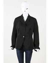 Jil Sander Silk Blazer Jacket Green Sz: M