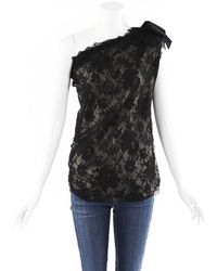 Lanvin Lace Ribbon Bow One Shoulder Top - Black