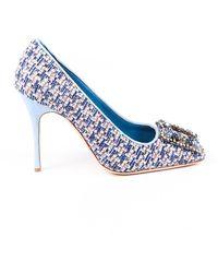Manolo Blahnik Vazza Tweed Crystal Square Toe Court Shoes - Blue
