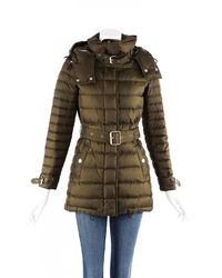 Burberry Down Filled Belted Hooded Puffer Coat - Green