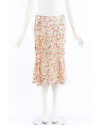 Naeem Khan Beaded Silk Midi Skirt - Natural