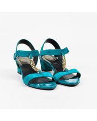 """Roger Vivier - """"turquoise"""" Blue Suede """"sandal Chain Geometric"""" Sandals Sz 40 - Lyst"""