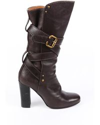 Chloé Brown Leather Strappy Block Heel Boots Brown Sz: 7.5