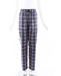 Burberry Plaid Silk Drawstring Trousers Blue/multicolor Sz: L