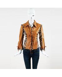Roberto Cavalli - Brown Black Leather Printed Silk Trim Collared Jacket - Lyst
